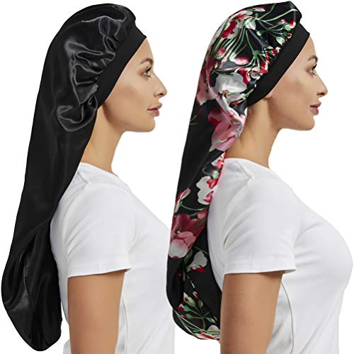 2 Pcs Hair Bonnets for Women Satin, Soft Elastic Band Silky Sleeping Cap Big Bonnets for Women Bonnet for Braids