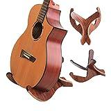 Soporte universal para guitarra de madera, estilo de marco de madera contrachapada gruesa X - Portátil desmontable - Borde goma suave antideslizante EVA para guitarras clásicas acústicas y eléctricas