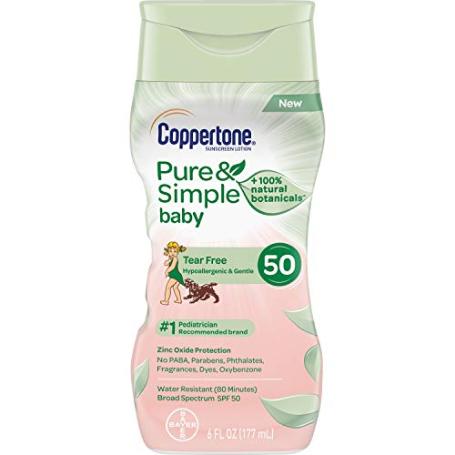 Coppertone Pure & Simple Baby Tear Free Mineral-Based Sunscreen Lotion Broad Spectrum SPF 50 (6 Fluid Ounce) (Packaging may vary) Image