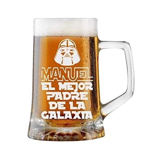Jarra de Cerveza Personalizada Día del Padre FELICIDADES MEJOR PAPÁ Regalo Grabado y Personalizado Vasos para Hombre o Mujer Obsequio Celebraciones Cumpleaños Aniversarios Día del Padre (D)