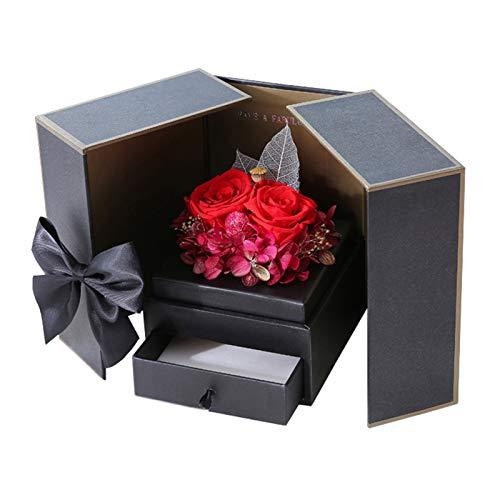 TTLIFE Confezione Regalo per Regalo Collana Anello, Confezione Regalo Rosa eterna Confezione Regalo Gioielli con Fiore Rosa stabilizzato per San Valentino Festa della Mamma