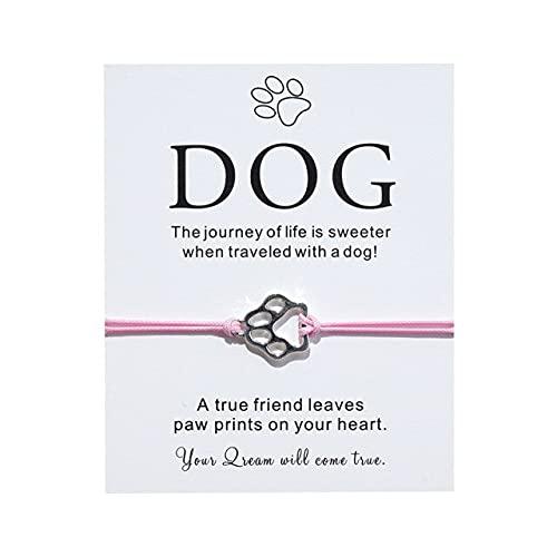 FIISH Joyería Tarjeta de bendición para Perros Pulsera Europea y Americana Personalidad Creativa Aleación Garra de Perro Pulsera Trenzada Ajustable