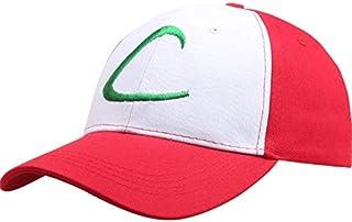 Red & White Anime Pokemon Hat Ash Ketchum Hat For Unisex