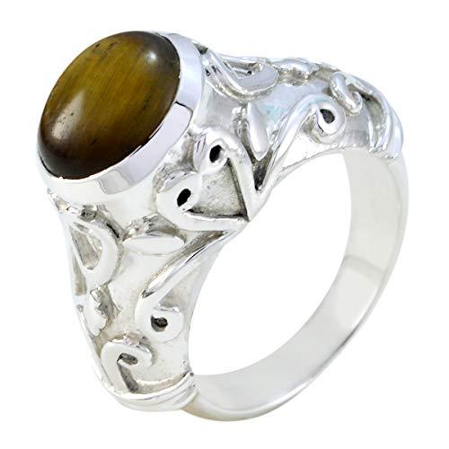 joyas plata bonita piedra preciosa forma ovalada una piedra cabujón anillo de ojo de tigre - anillo de ojo de tigre marrón de plata de ley 925 - nacimiento de mayo tauro
