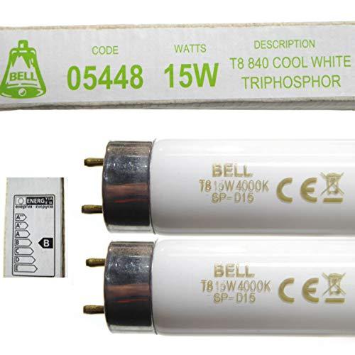 2 tubos fluorescentes de 15 W T8, 450 mm, 18 pulgadas, luz blanca fría, 4000 K, 05448
