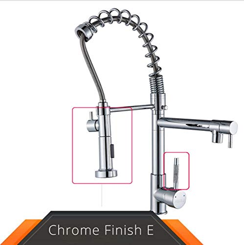 Chrome Spring Pull Down Keukenkraan Dual Outlet Uitlopen 360 Draaibare Handdouche Keukenmengkraan Kraan Hot Cold Taps Frosted knop Chrome