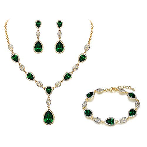 Clearine Cubic Zirconia Gemstone Diamante Teardrop Wedding Bridal Costume Statement Y-Necklace Dangle Earrings Tennis Bracelet Set for Women Gold Toned Green Emerald Colour
