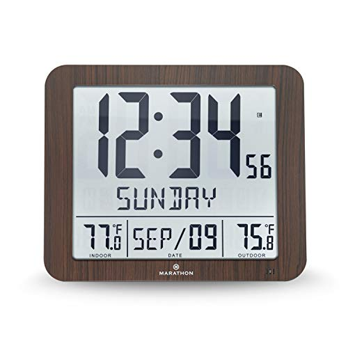 Marathon Slim Atomic Wall Clock with Indoor/Outdoor Temperature, Full Calendar and Large Display - Batteries Included - CL030027-FD-WD (Wood Grain Finish)
