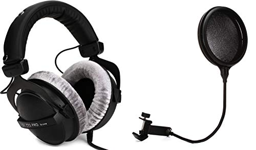 Gator GM-POP FILTER - Pop Filter + Beyerdynamic DT 770 Pro 80 ohm Closed-back Studio Mixing Headphones Value Bundle
