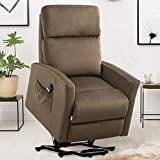 GOOD & GRACIOUS Lift Chair, Electric Power Recliner with Remote Control for Elderly, Heavy Duty and Soft Fabric Sofa for Living Room, 3 Position, 2 Grid Chocolate