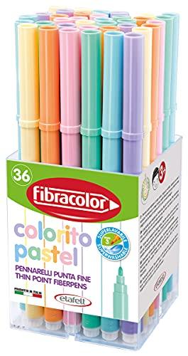 FIBRACOLOR 10550SW036BA Colorito Pastel Fibracolor Pot de 36 feutres 3 pièces chacun de 6 couleurs pastel, pointe fine, super lavables