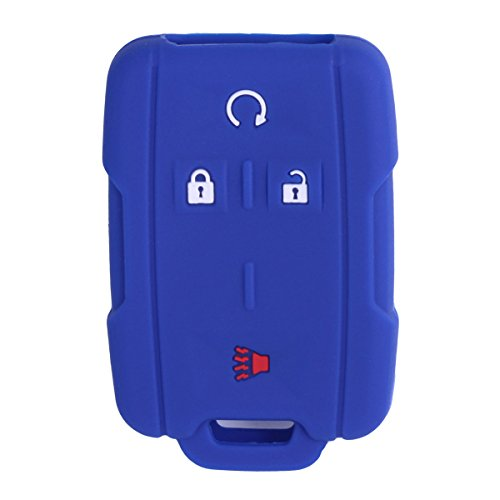 XUHANG Sillicone key fob Skin key Cover Remote Case Protector Shell for Chevrolet Silverado Colorado GMC Sierra Yukon Cadillac smart Remote blue
