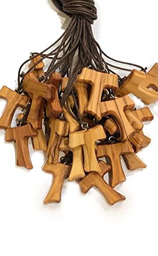 Tau 3 cm 20 pz in legno di ulivo, croce di San Francesco d'Assisi con i 3 nodi Francescani con 1 Certificato di qualità realizzato nelle vicinanze di Assisi