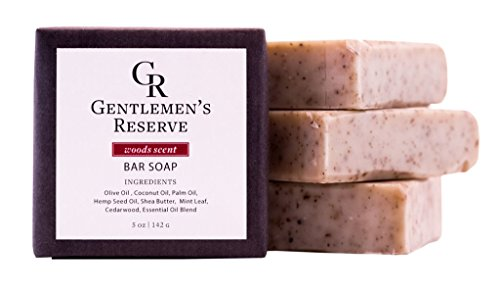 Mens All Natural Exfoliating Bar Soap by Gentlemens Reserve (4 Pack) - Handmade with Olive, Coconut and Pine Oil- Cedarwood, Eucalyptus, Pine (Woods Scent) 5 oz Each