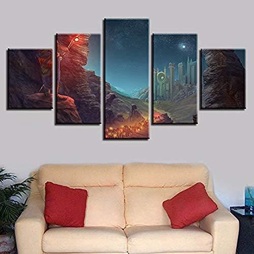 suwhao Muurtattoos & wandafbeeldingen Hd druk kunst foto's decor wand 5 stuks wandelstok sterrenhemel bergen nachtzicht canvas schilderijen modulaire poster