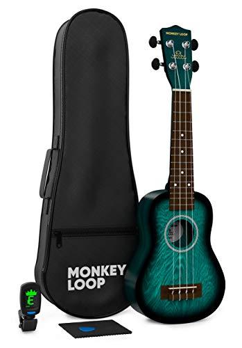 Monkey Loop - Serie Jungle Pack - Ukelele Soprano - Incluye: Funda, Afinador, Púa y Gamuza Limpiadora - Color Azul - Óptimo para Principiantes - Cuerdas Aquila - Materiales Resistentes - Alta Calidad
