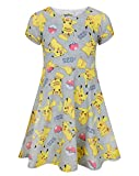 Marchandises officielles Pokemon Parfait pour les petits fans de Pikachu Distinctive all-over imprimé inspiré par Pikachu Skater style robe à manches courtes et encolure dégagée
