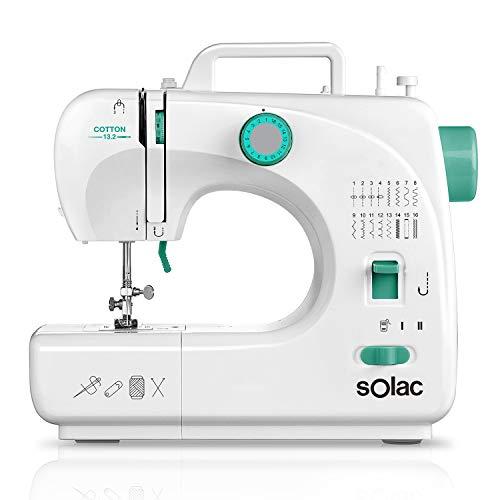 Solac SW8231 Cotton 13.2 - Máquina de coser. 16 puntadas. Ojal automático en 4 pasos. Brazo libre. Sistema vertical de carga. Funciona con y sin pedal. Asa de transporte. 2 bobinas. 2 agujas. Blanco