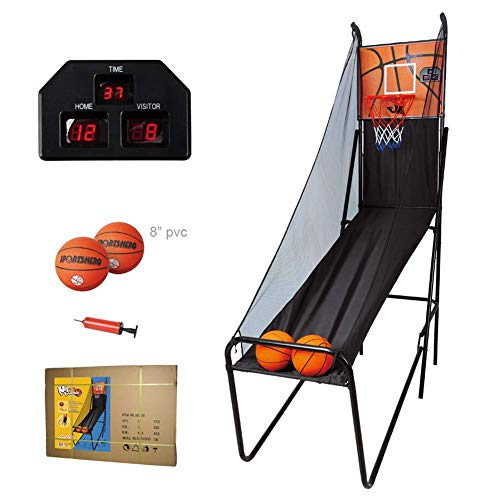 GONGFF basketball net hoop backboard Indoor basketball system, shooting machine Collapsible, scoring basketball stand with electronic scoring function, with two 8-inch basketballs