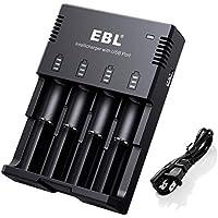 EBL 996 Cargador de Baterías con USB Puerto para Cargar Inteligente 1-4 AA AAA Ni-MH Ni-CD y Pila Recargable Li-Ion: 18650 26650 22650 17670 17500 18490 18350 16340 (RCR123) Li-Ion Cilíndrico B