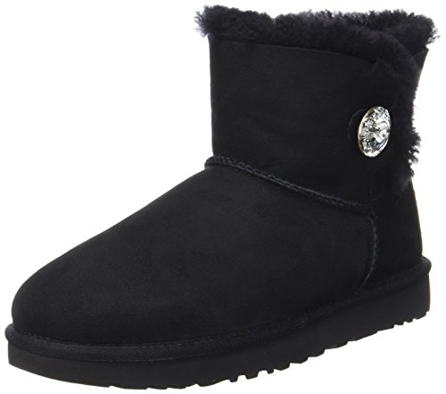 UGG Australia Mini Bailey Button Bling, Stivali Invernale Donna, Nero, 42 EU