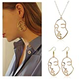 Picasso Face Earrings Face Necklace Set Gold Silver Vintage Abstract Statement Dangle Earrings for W omen Chicas dorado