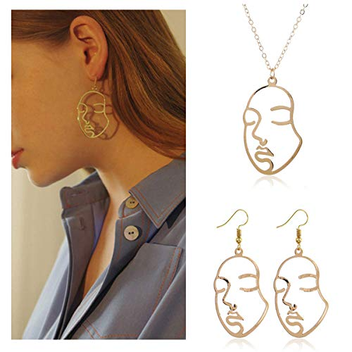 Meetlight Picasso Face Earrings Face Necklace Set Gold Silver Vintage Abstract Statement Dangle Earrings for Women Girls (gold set)
