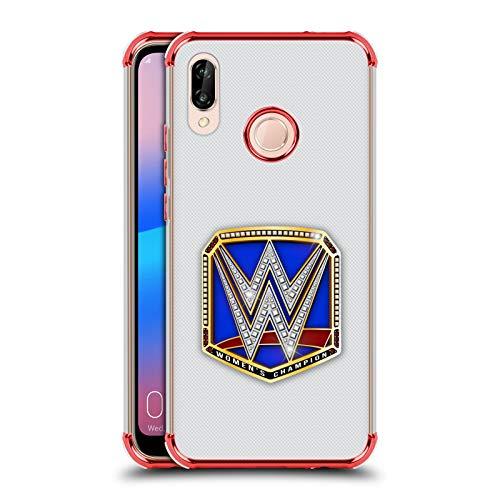 Officiële WWE Smackdown Dames Kampioen Titel Riemen Rode Shockproof Fender Case Compatibel voor Huawei P20 Lite