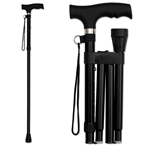 RMS Folding Cane - Foldable, Adjustable, Lightweight Aluminum Offset Walking Cane - Collapsible Walking Stick with Ergonomic Derby Handle - Ideal Daily Living Aid for Limited Mobility (Black)