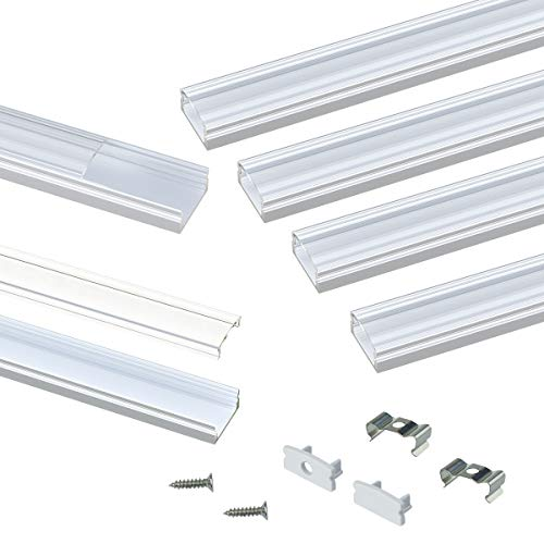 Muzata LED Channel System with Crystal Transparent Diffuser Clear Cover Lens,Aluminum Extrusion Track Housing Profile for Strip Light with Video Guide,10Pack 3.3ft//1M U Shape U1ST
