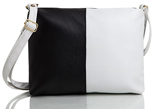 mammon Women's Pu Leather Sling Bag Black White (Slg-Blcw,Size:11X8 Inches)