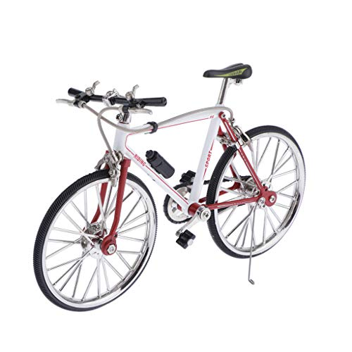 freneci 1/10 Scala Simulate Simulated Racing Bike Bike Model Decor Red Bianco - Un