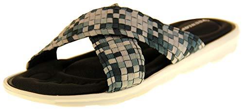 Dunlop Damen Sandalen Zehensteg Memory Foam Flip Flops, Schwarz - Schwarz - Größe: 40 EU