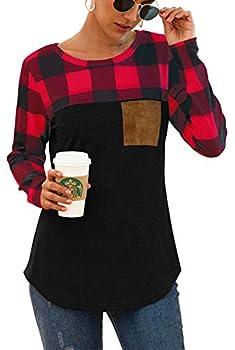 Red Black Buffalo Plaid Neck Long Sleeve Patchwork Blouse Top Curve Hem Tunic