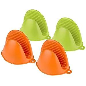 Comius Sharp Mini Guantes de Silicona para Horno, 4 Piezas Multifuncionales Horno Guantes Accesorios, Resistentes al Calor Clip de Mano Antideslizante (Green + Orange)