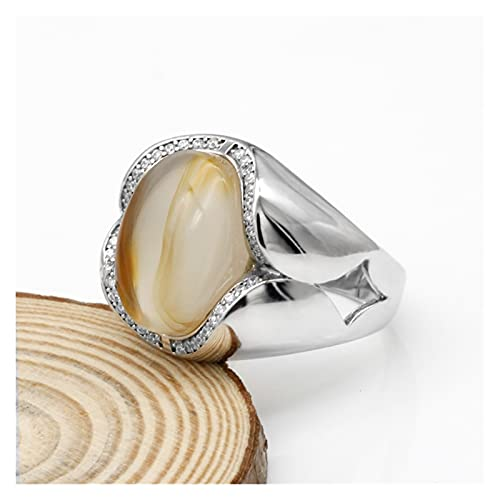 SONGHUA Joyas Hechas a Mano turcas 925 Sterling Silver Men Ring con Gran Anillo de Piedra de ónix Natural Ajuste tailandés para Mujer Regalo (Ring Size : 11)