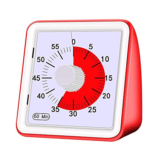 Z-Y Timer keuken 1 stuks Multifunctionele wekker slechts 1 stuks 60 Minutes Silent Visual Analog Timer Time Management Countdown Clock Digital Clock (Color : Red)