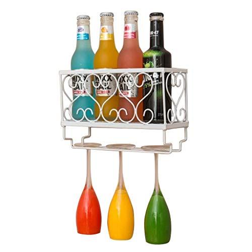 JBNJV Botellero montado en la Pared | Soporte para Botellas y Vasos | Almacenamiento | Champaña | Hogar y Cocina D & Eacute; Cor | Estante de exhibición | Estantería de Hierro de Metal - Blanco