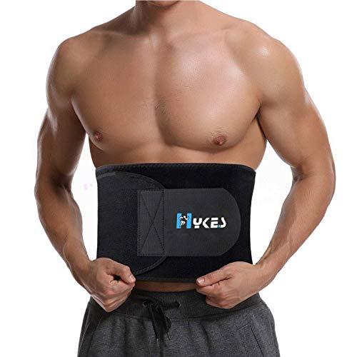 Hykes Sweat Slim Belt Waist Tummy Trimmer Fat Burning Weight Loss Exercise Body Shaper for Men and Women (Black)