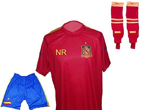 Spanien Trikot + Hose + Stutzen mit Wunschname + Nummer Kinder Größe 104
