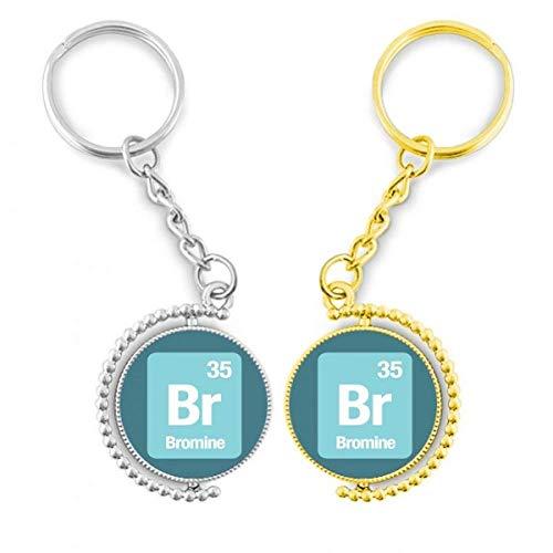 DIYTHINKER BR Brome Elemento químico Science el anillo de metal dorado llavero – llaves de la llave