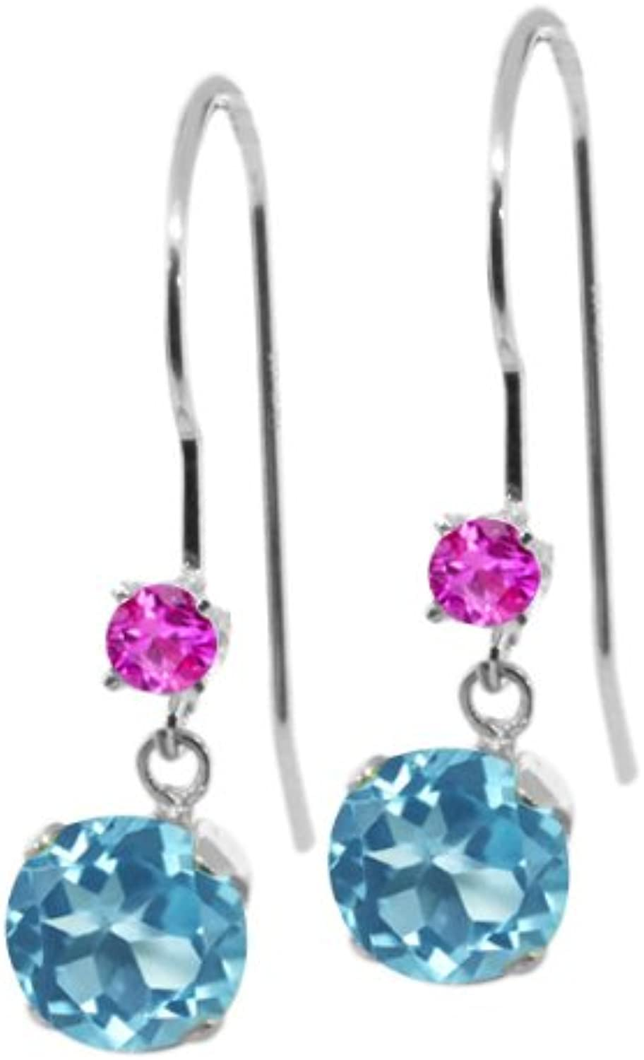 1.36 Ct Round Swiss bluee Topaz Pink Sapphire 14K White gold Earrings