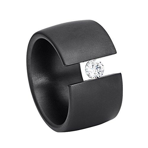 Heideman Ring Damen Elegantia breit aus Edelstahl schwarz matt Damenring für Frauen mit Swarovski Stein Zirkonia Weiss im Brillant Schliff 4mm