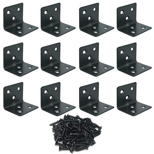 Alamic Soporte de esquina de acero inoxidable para estanterías de 38 x 30 x 30 mm, ángulo recto, soporte en forma de L para muebles, armarios de madera, 12 unidades