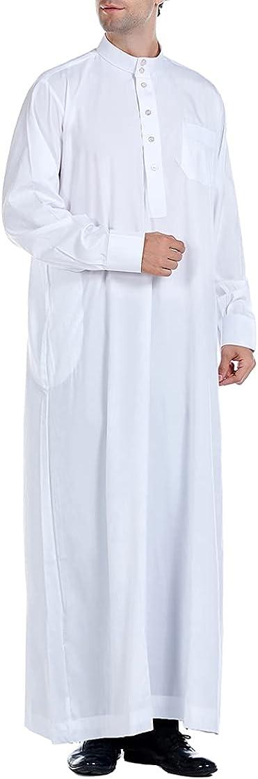 Sholeno Men Muslim Long Sleeve Thobe Robe Islamic Church Baptism Stand Collar Ankle Length Dubai Abaya Gown
