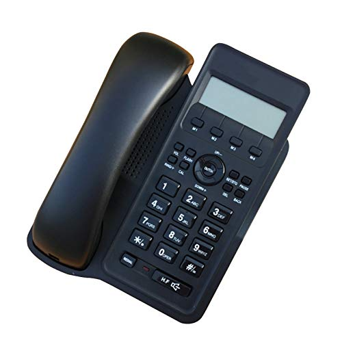 Teléfono con cable de escritorio, timbre fuerte, identificador de llamadas, por negocios o familia, sin batería, diseño simple, teléfono con cable fijo, negro