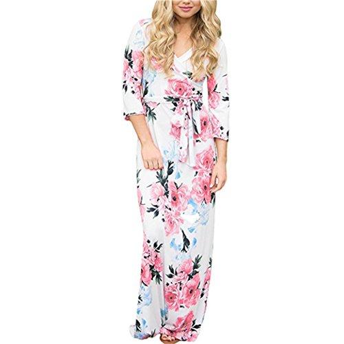 TWIFER Damen Damen Herbst Langarm V-Ausschnitt Kleid Knopf MaxiKleid (L, C-weiß)