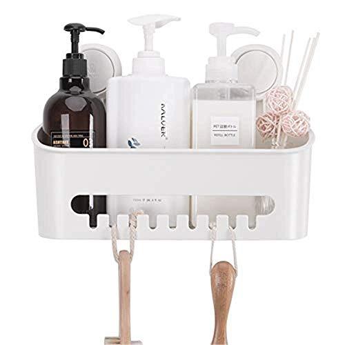 LIJIANZI Worth having - Estante de la cocina de la succión al vacío, canasta de ducha impermeable extraíble, cesta del organizador de la pared de baño para champú acondicionador maquinilla de afeitar