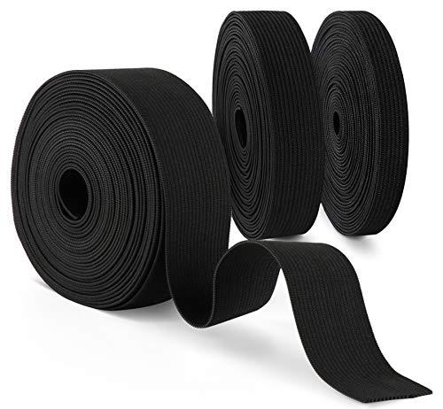 Agoer Gummiband Schwarz 10mm 20mm 30mm Breit, 3 Stück Nähen Elastisches Band für Nähen und Haushalt DIY Handwerk, 15 m Gummilitze für den Rettungsdienst zu fertigen