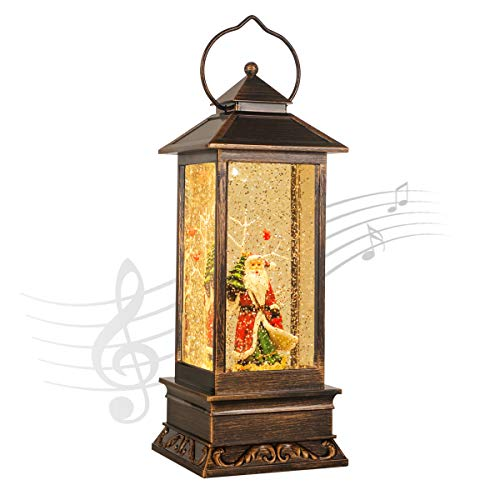 Christmas Decoration Home 12' Lighted Snow Globe Lantern,Christmas Santa Claus Lantern,Water Lantern Glittering with Music USB and Battery Operated Singing Snow Globe
